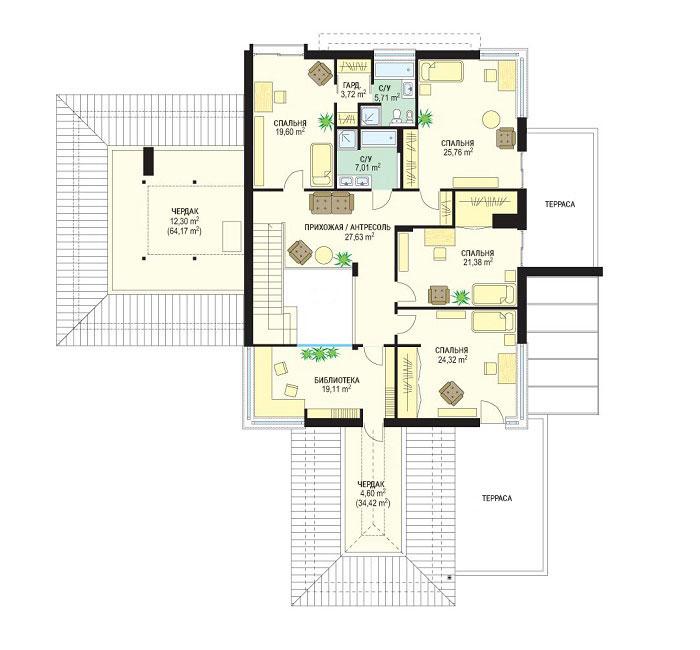Проект коттеджа OS-482 | План второго этажа