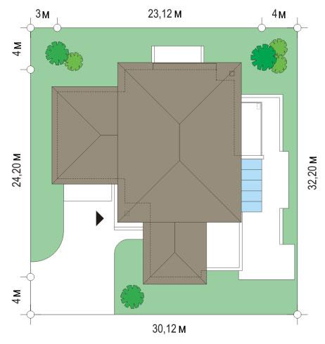 Проект коттеджа OS-482 | План на участке