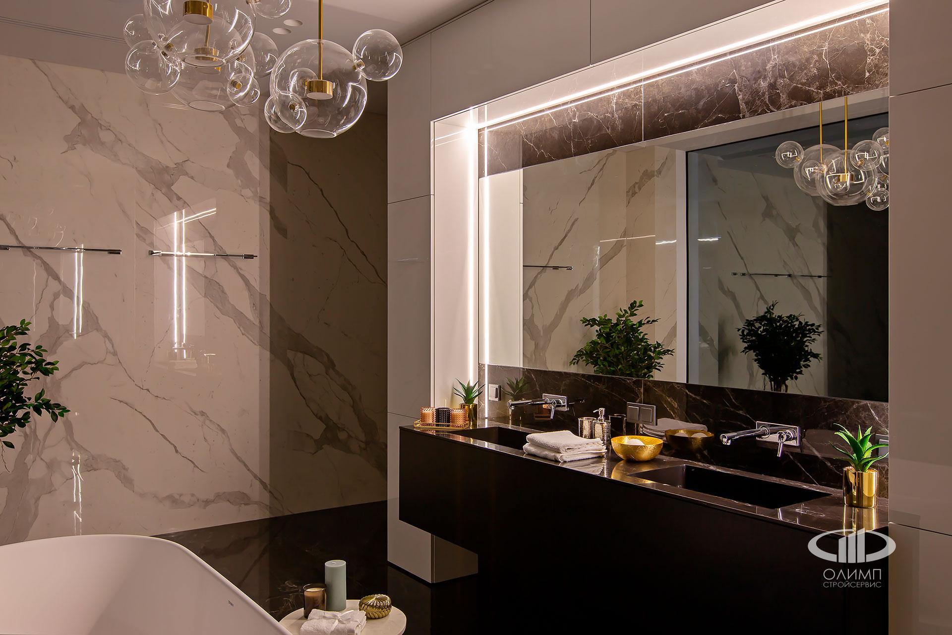 Керамогранит в мастер-ванной комнате современного дома