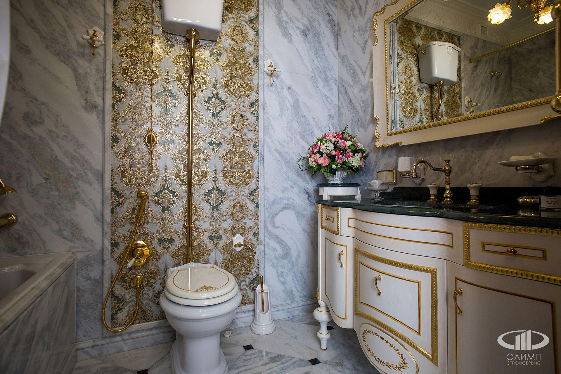 Плитка в классическом стиле в ванной