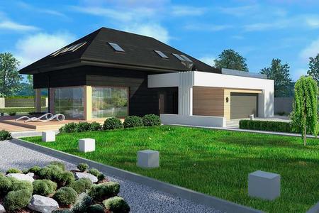 Дом с мансардой и открытой террасой