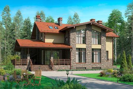 Двухэтажный дом с цоколем и террасой