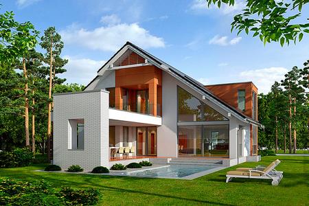 Современный дом с двухскатной крышей | Бакор