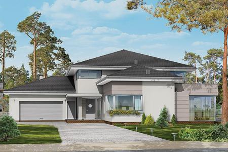 Большой двухэтажный дом в стиле Модерн