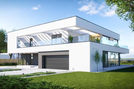 Современный двухэтажный дом с гаражом | Редвуд  Фото №1