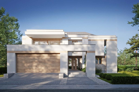 Коттедж в стиле Хай-Тек с комбинированным фасадом | Розас фото №1