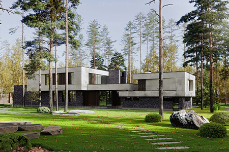 Современный двухэтажный дом с плоской крышей| Калифорния фото №1