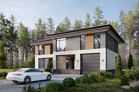 Коттедж с комбинированным фасадом