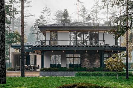 Дом в стиле Прерий Райта в лесу