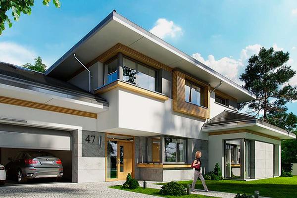 """Большой двухэтажный дом в стиле """"Модерн"""" строительство"""
