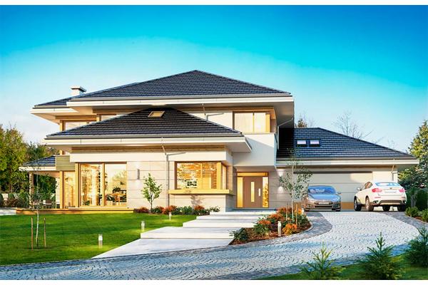 Большой двухэтажный дом с камином фото