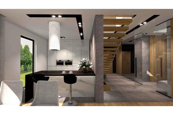 Дом с мансардой и открытой террасой дизайн