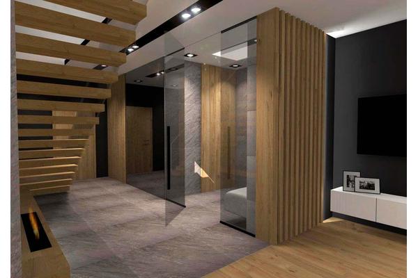 Дом с мансардой и открытой террасой 3-d визуализация