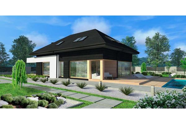 Дом с мансардой и открытой террасой проектирование