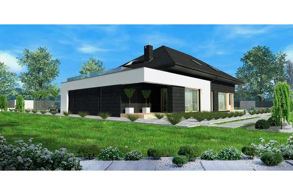 Дом с мансардой и открытой террасой строительство