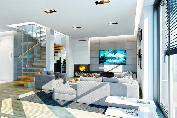 Двухэтажный дом с гаражом на две машины | Дизайн интерьера