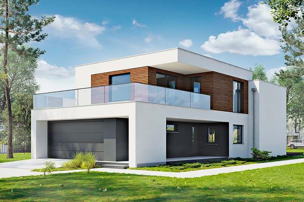 Двухэтажный коттедж в стиле Хай-Тек