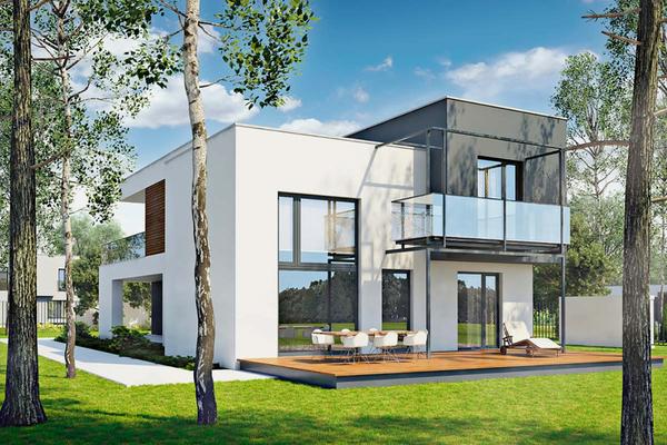 Двухэтажный коттедж в стиле Хай-Тек | Фото