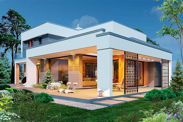 Двухэтажный котедж в современном стиле фото
