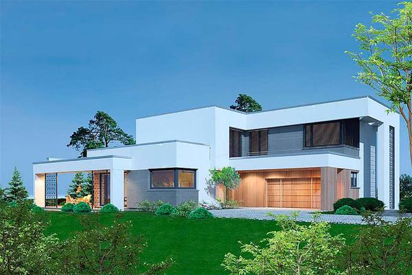 Двухэтажный котедж в современном стиле проектирование
