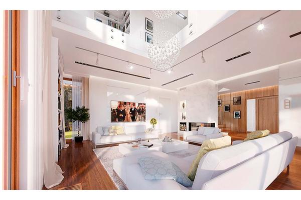 Двухэтажный коттедж с камином дизайн