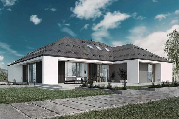 Одноэтажный дом с мансардой и террасой | Фото