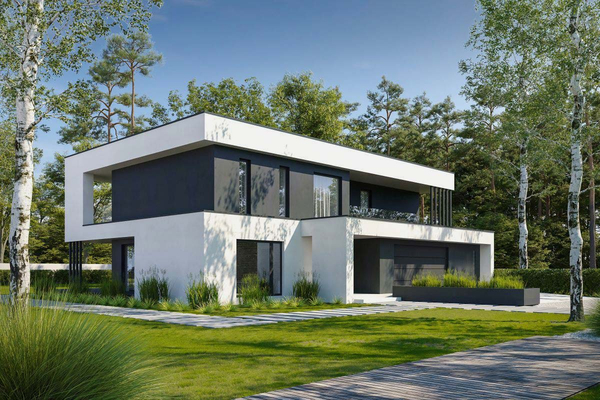 Двухэтажный коттедж с стиле Хай-Тек | Фото