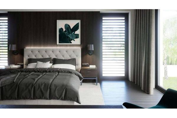 Двухэтажный коттедж с стиле Хай-Тек | Фото дизайна интерьера |  Спальня