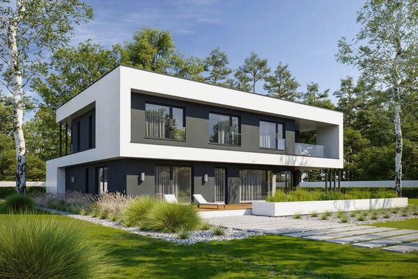 Двухэтажный коттедж с стиле Хай-Тек | Фото коттеджа