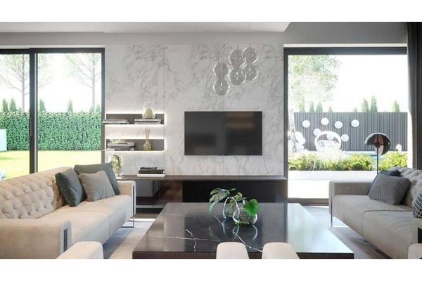 Двухэтажный коттедж с стиле Хай-Тек | Фото дизайна интерьера |  Гостиная-столовая