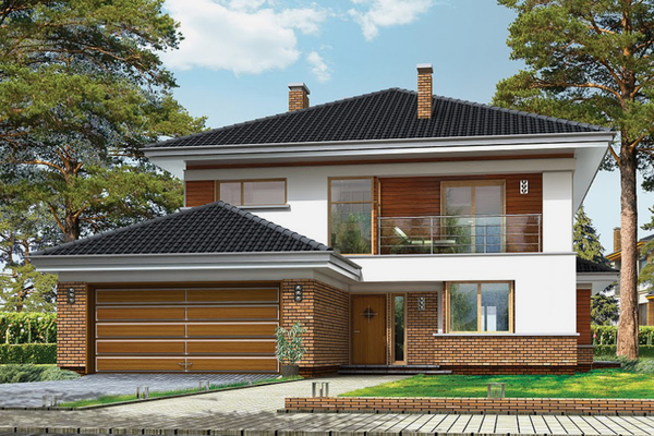Двухэтажный современный дом с гаражом на 2 машины | Вервуд