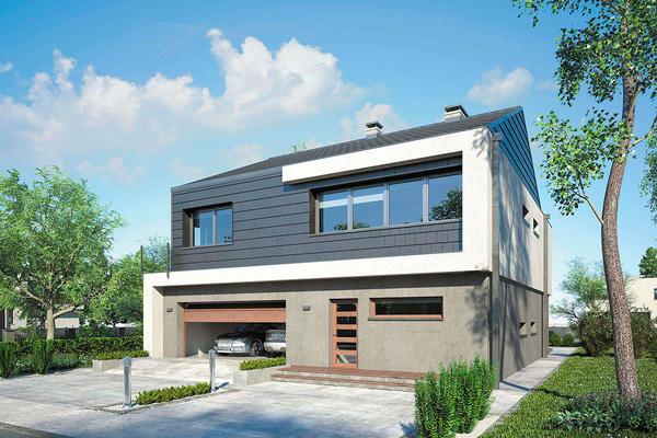 Современный дом с двухскатной крышей | Энкур