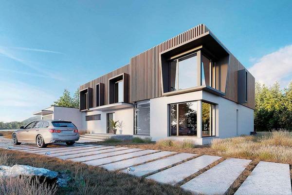 Современный дом с комбинированным фасадом   Фото №2