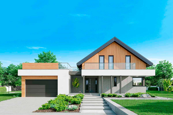 Современный дом с мансардой | Алнесс