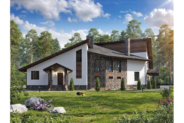 Двухэтажный дом с мансардой в стиле Шале| Салланш фото №3