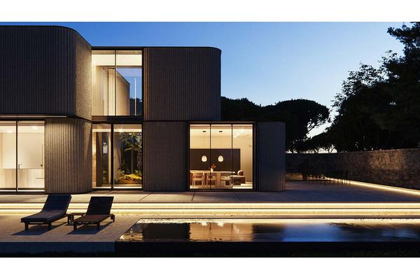 Подсветка фасада современной резиденции