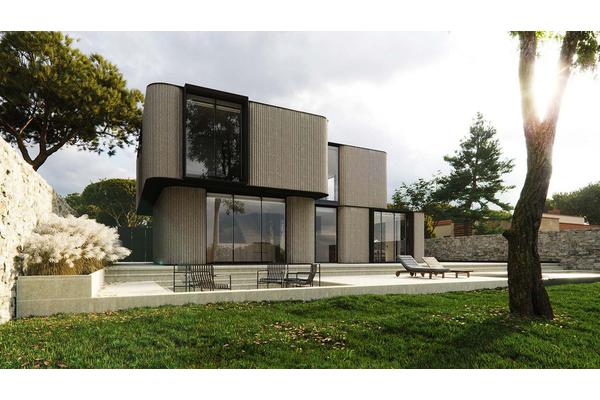 Современный дом с панорамными окнами в пол