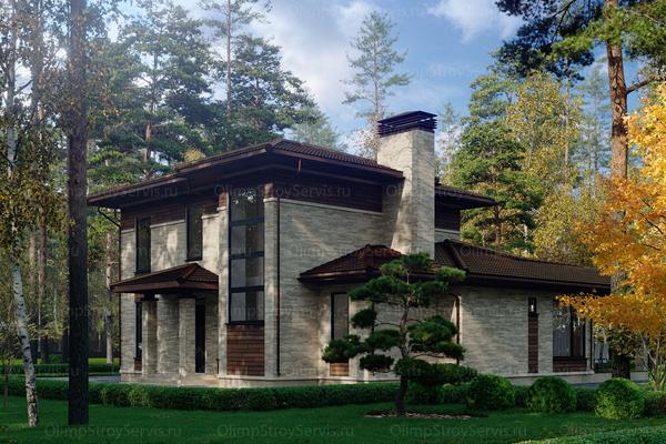 комбинированная отделка фасада частного дома