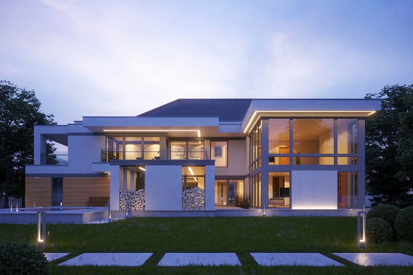 Современный дом с навесом для автомобиля | Мердорф фото №1