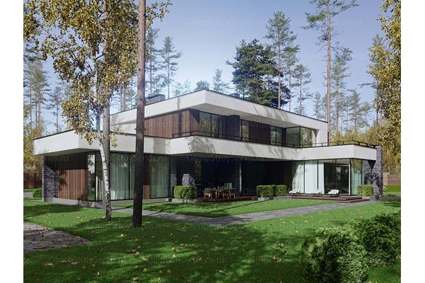 Современный двухэтажный дом с плоской крышей| Калифорния фото №2