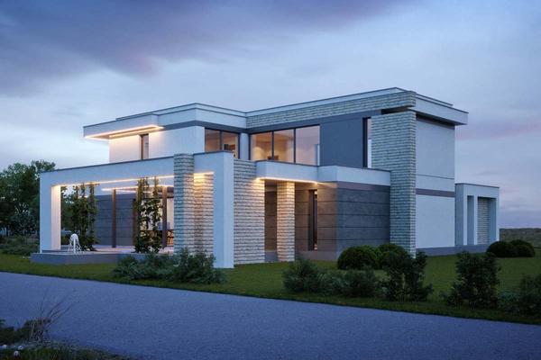 Современный коттедж с комбинированным фасадом «Ламия»| Проектирование и строительство