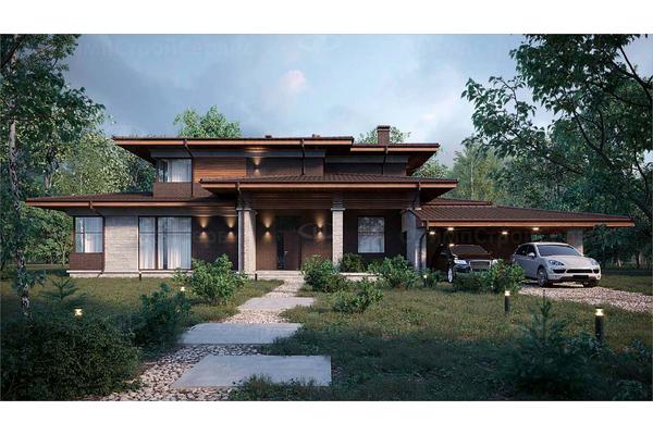 проекты двухэтажных домов в стиле райта