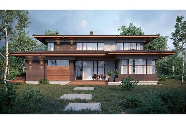 дом в стиле райта двухэтажный с навесом для машины