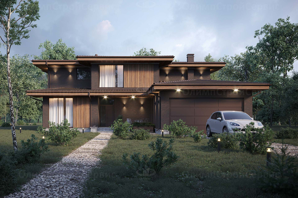 Дом в стиле Райта «Блит» с фасадом их клинкерного кирпича