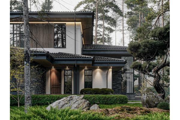 дом с комбинированным фасадом