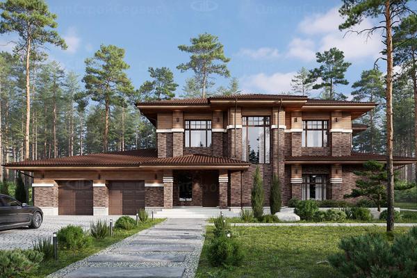 Современный дом с террасой Браунвуд  Проектирование и строительство