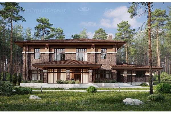 современный двухэтажный дом с террасой
